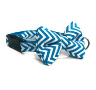 Mutt of Course Chevron Blue Dog Bow Tie - Medium